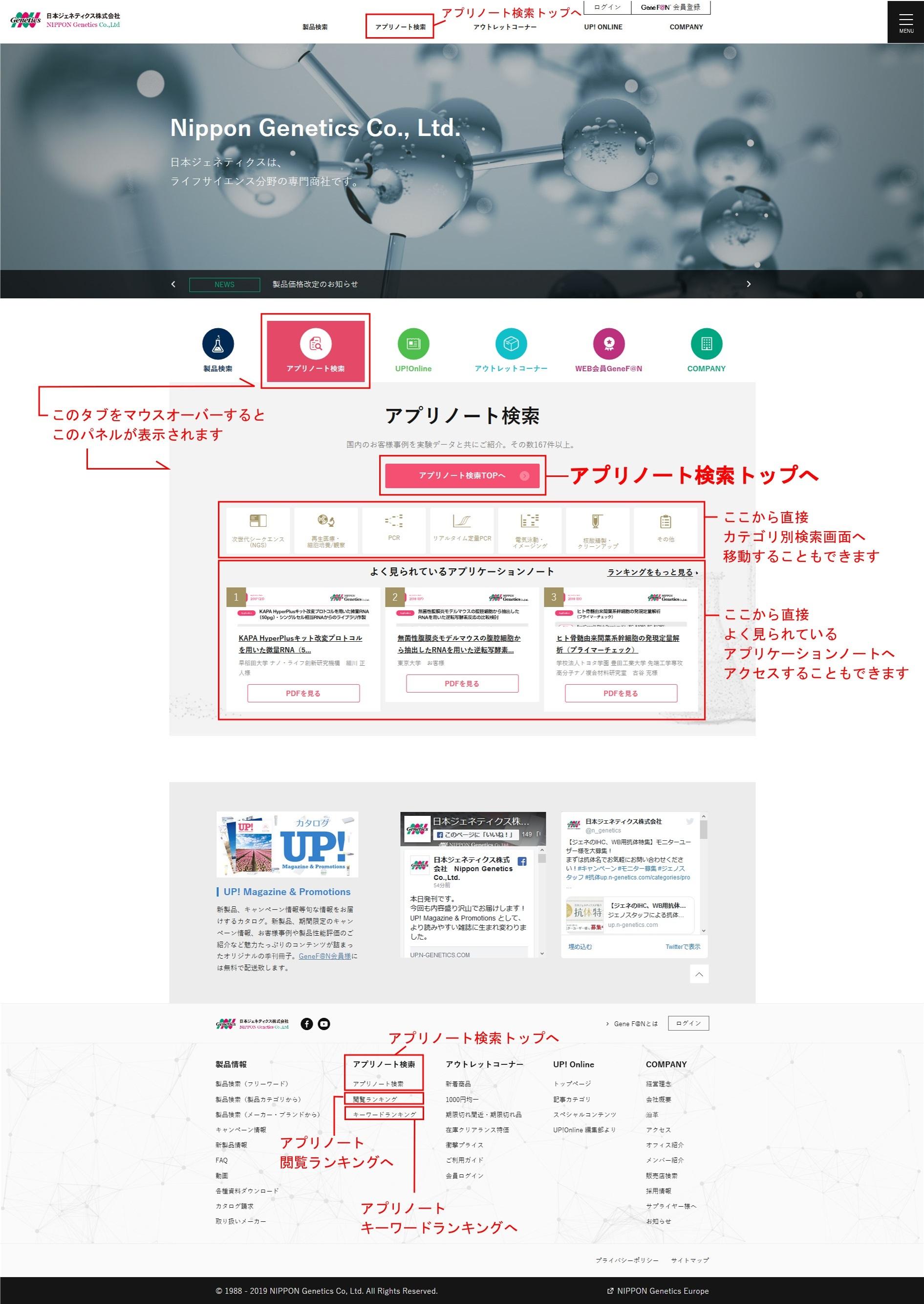 日本ジェネティクスホームページ・トップ画面
